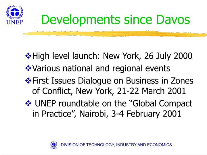 Developments since Davos