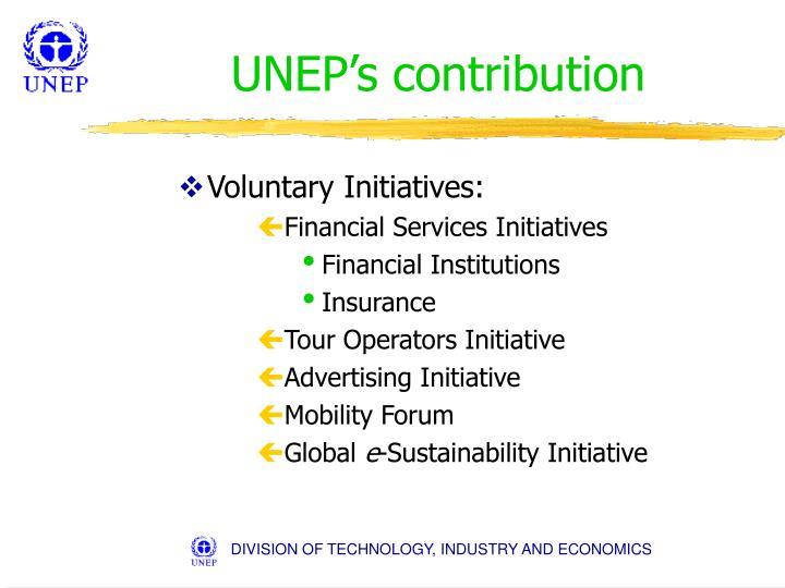 UNEP's contribution