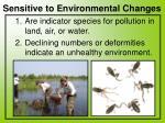 sensitive to environmental changes