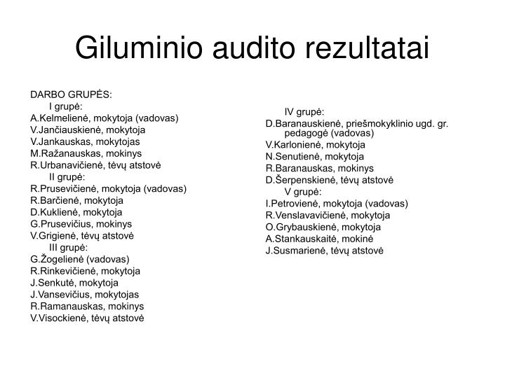 Giluminio audito rezultatai