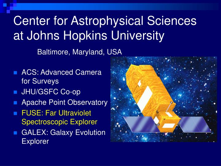 Center for Astrophysical Sciences at Johns Hopkins University