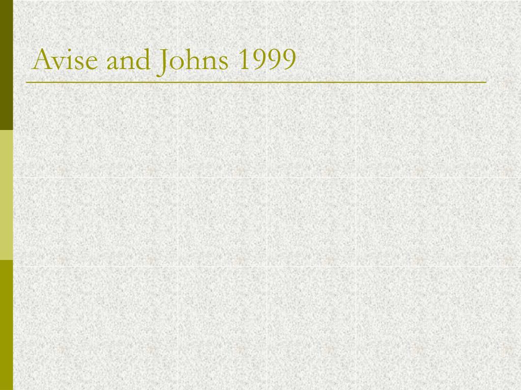 Avise and Johns 1999