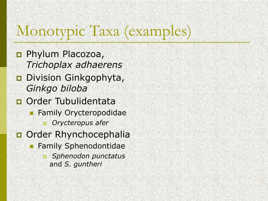 Monotypic Taxa (examples)