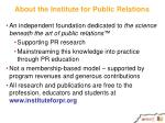 about the institute for public relations