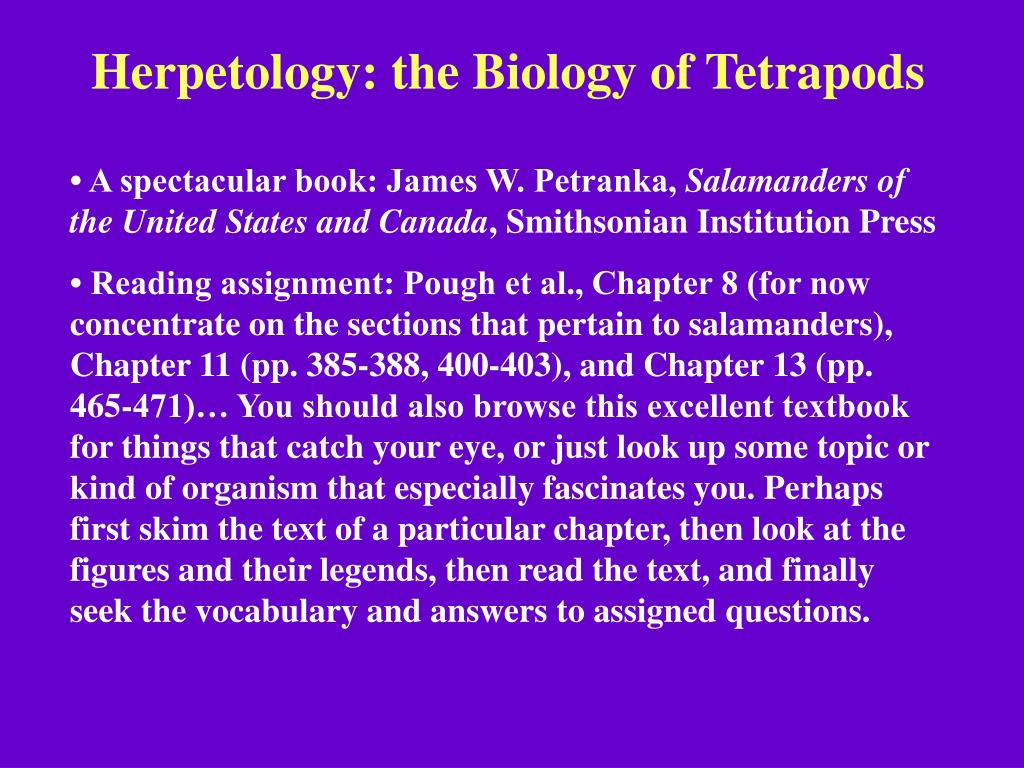 Herpetology: the Biology of Tetrapods