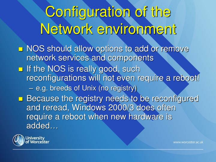 Configuration of the Network environment