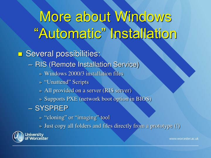 "More about Windows ""Automatic"" Installation"