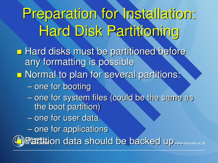 Preparation for Installation: Hard Disk Partitioning