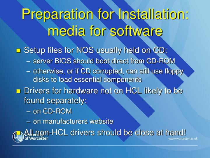 Preparation for Installation: media for software