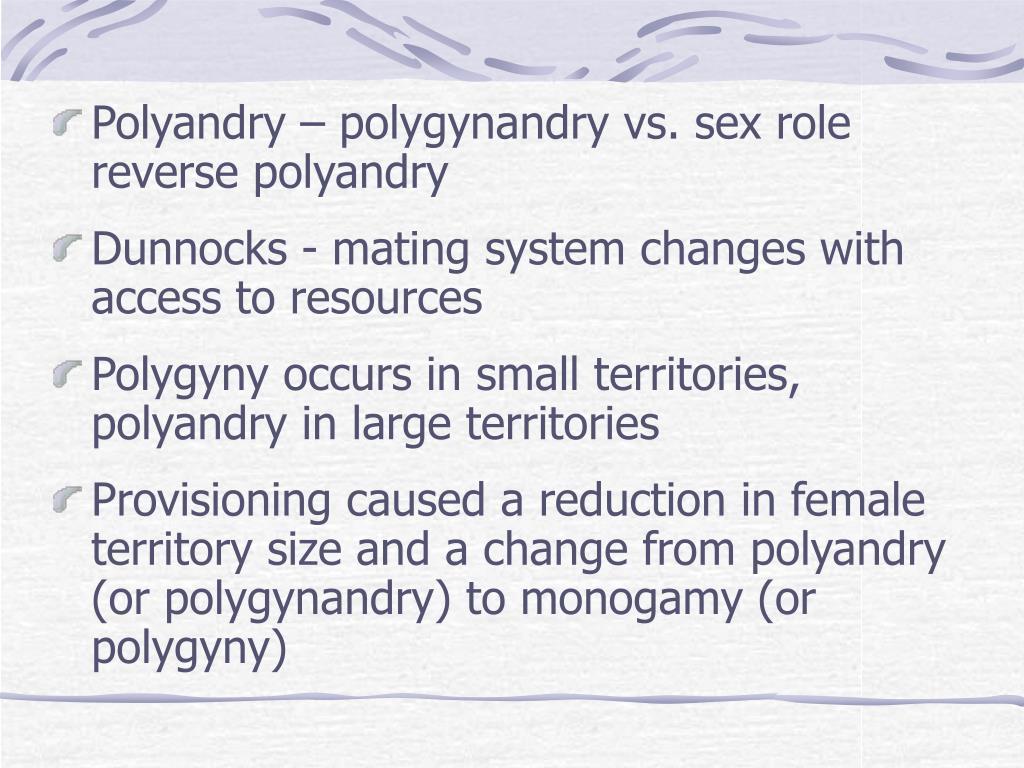 Polyandry – polygynandry vs. sex role reverse polyandry