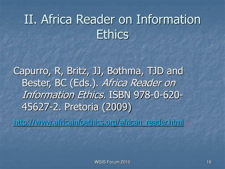II. Africa Reader on Information Ethics