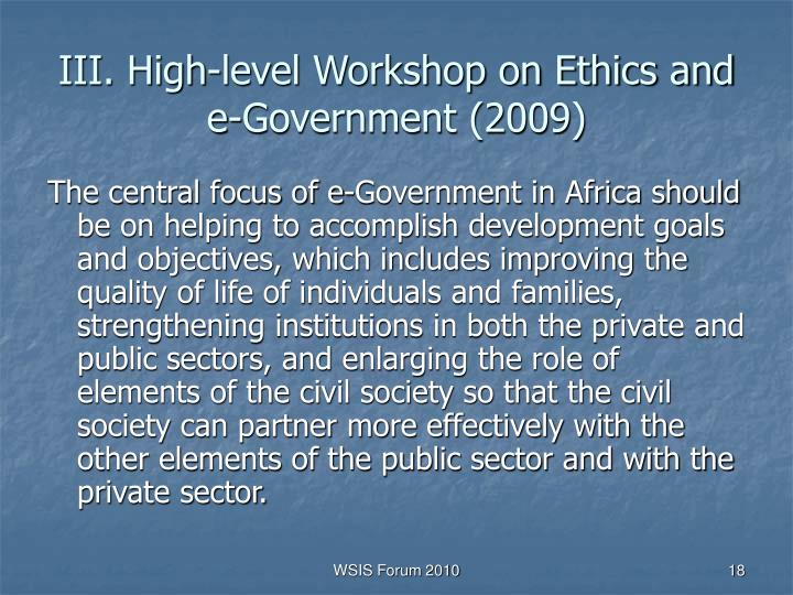 III. High-level Workshop on Ethics and e-Government (2009)