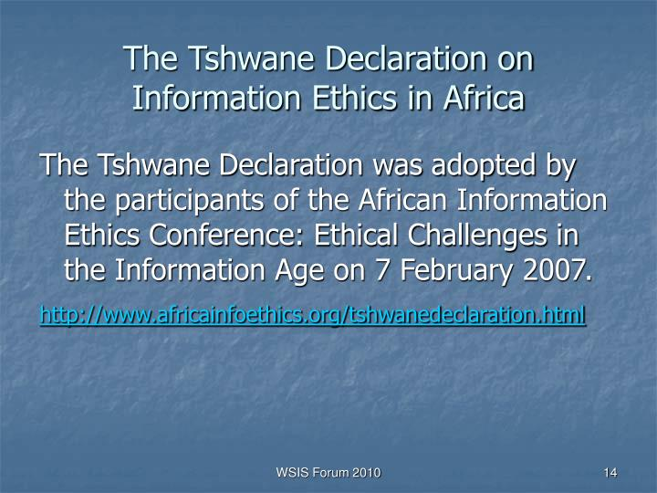 The Tshwane Declaration on Information Ethics in Africa