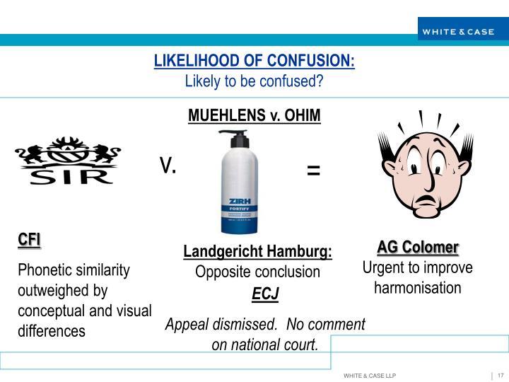 LIKELIHOOD OF CONFUSION: