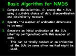 basic algorithm for nmds