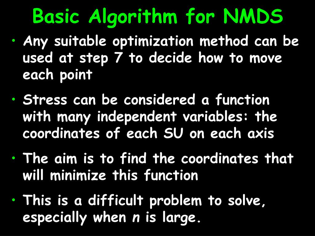 Basic Algorithm for NMDS