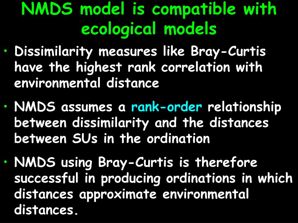 NMDS model is compatible with ecological models