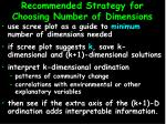 recommended strategy for choosing number of dimensions