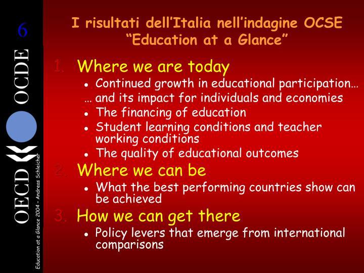 """I risultati dell'Italia nell'indagine OCSE """"Education at a Glance"""""""