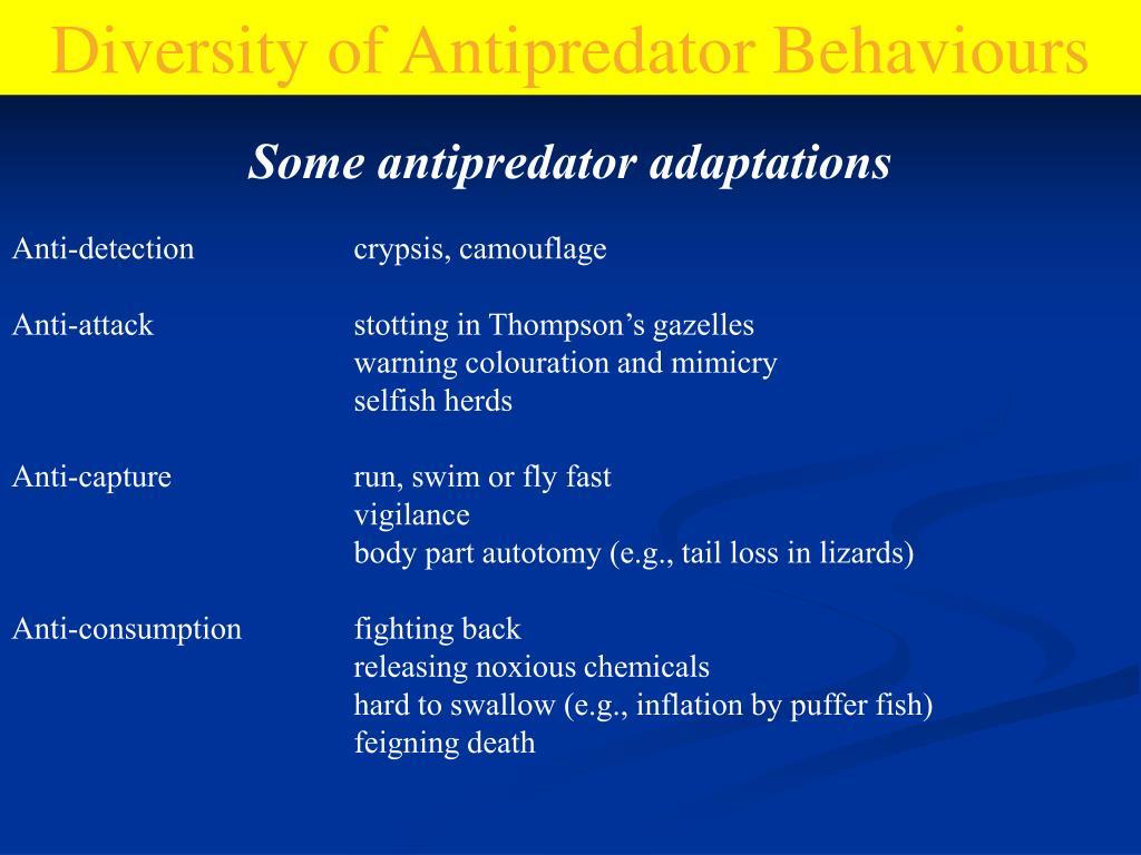 Diversity of Antipredator Behaviours