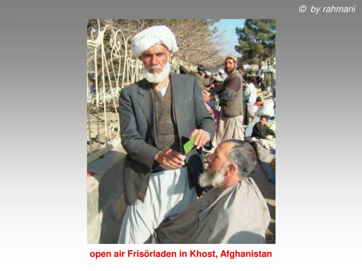 open air Frisörladen in Khost, Afghanistan