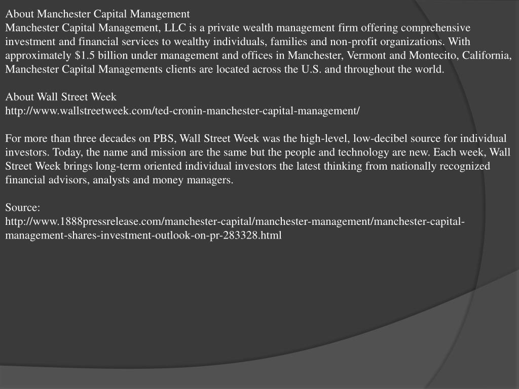About Manchester Capital Management