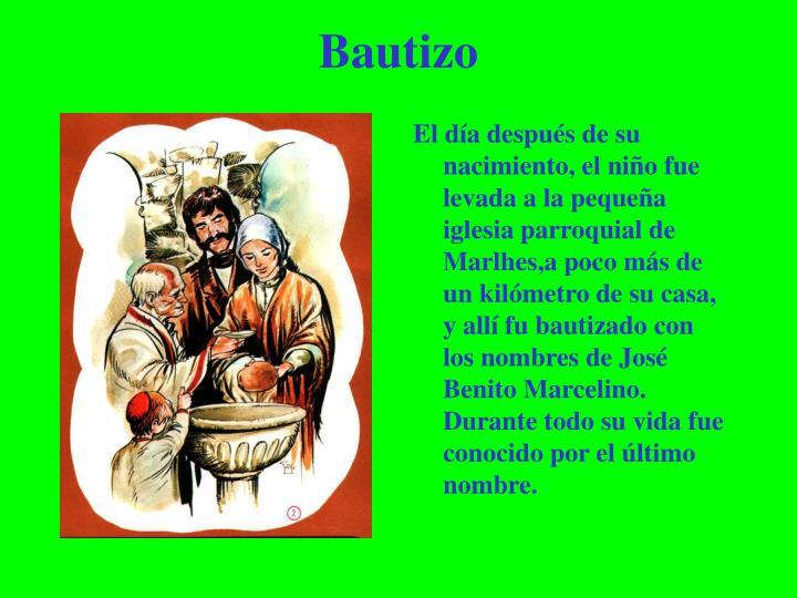 El día después de su nacimiento, el niño fue levada a la pequeña iglesia parroquial de Marlhes,a poco más de un kilómetro de su casa, y allí fu bautizado con los nombres de José Benito Marcelino.  Durante todo su vida fue conocido por el último nombre.