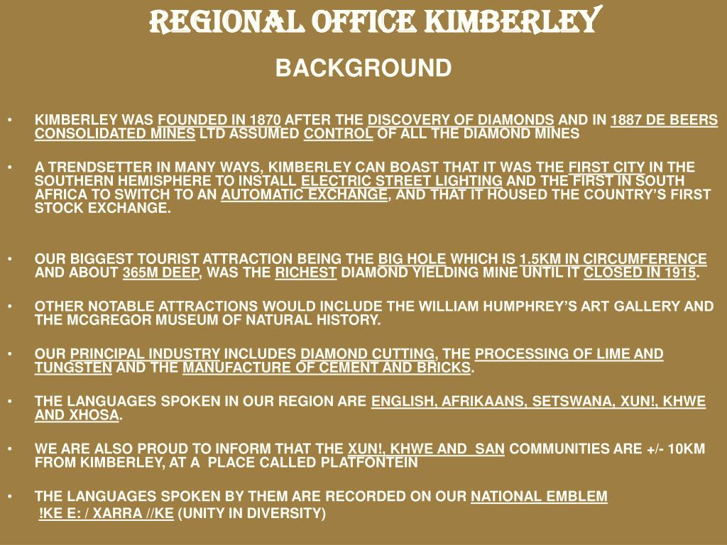REGIONAL OFFICE KIMBERLEY