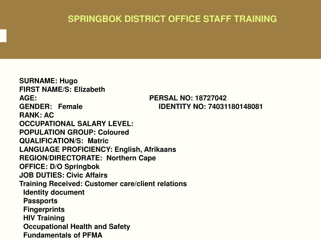 SPRINGBOK DISTRICT OFFICE STAFF TRAINING