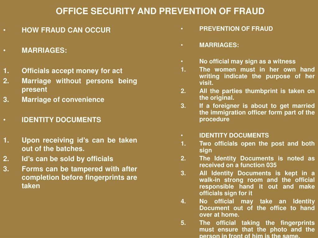 HOW FRAUD CAN OCCUR