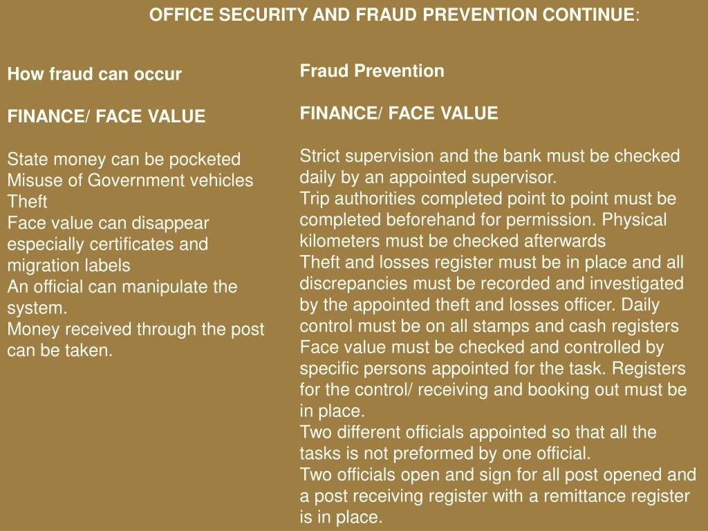 OFFICE SECURITY AND FRAUD PREVENTION CONTINUE