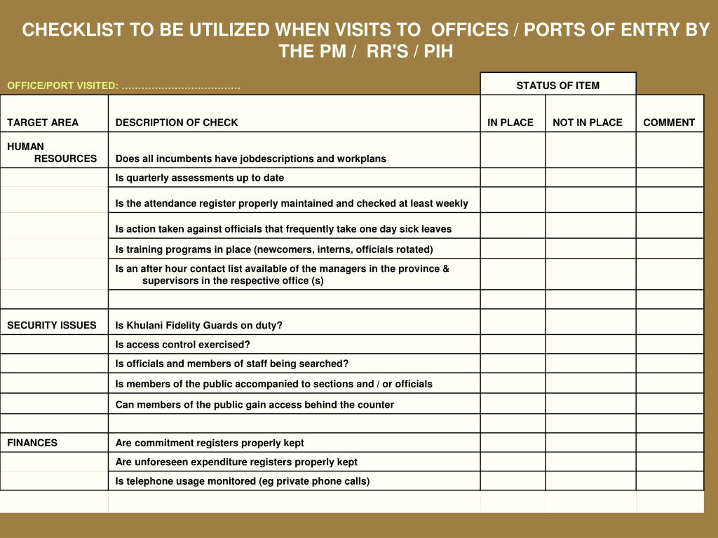 CHECKLIST TO BE UTILIZED WHEN VISITS TO  OFFICES / PORTS OF ENTRY BY THE PM /  RR'S / PIH