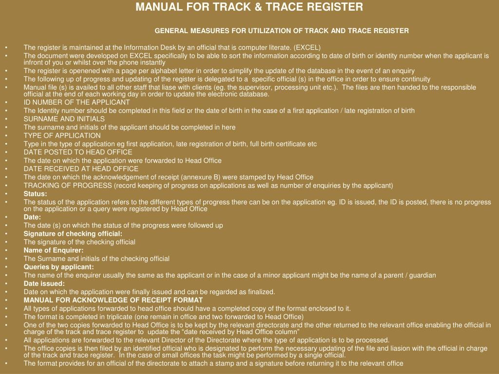 MANUAL FOR TRACK & TRACE REGISTER