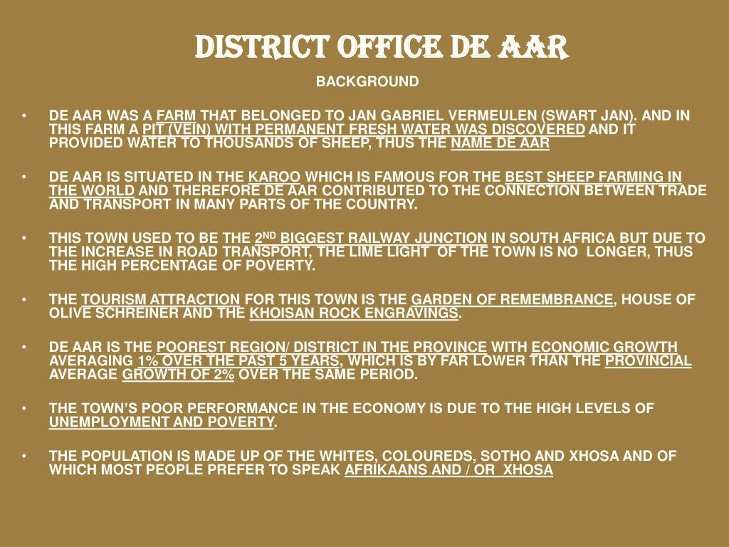 DISTRICT OFFICE DE AAR