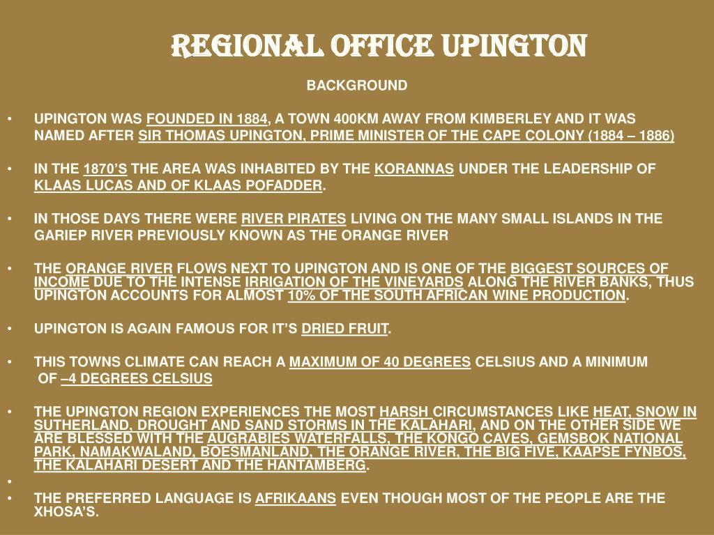 REGIONAL OFFICE UPINGTON