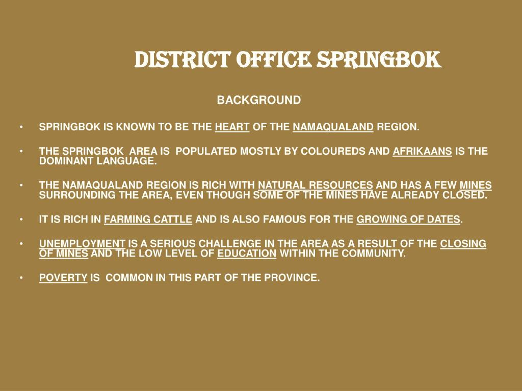 DISTRICT OFFICE SPRINGBOK