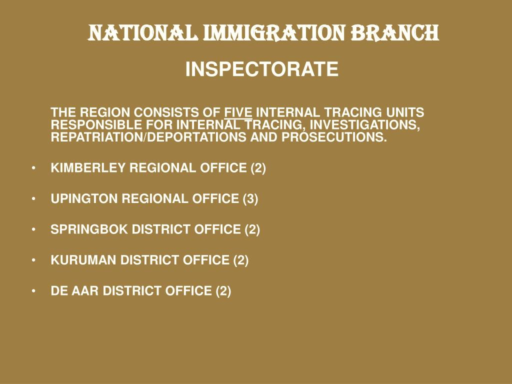 NATIONAL IMMIGRATION BRANCH