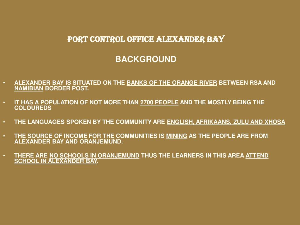 PORT CONTROL OFFICE ALEXANDER BAY