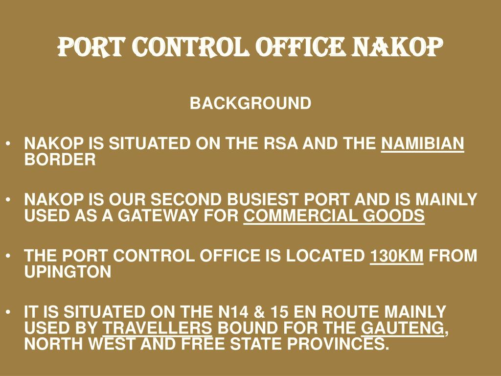PORT CONTROL OFFICE NAKOP