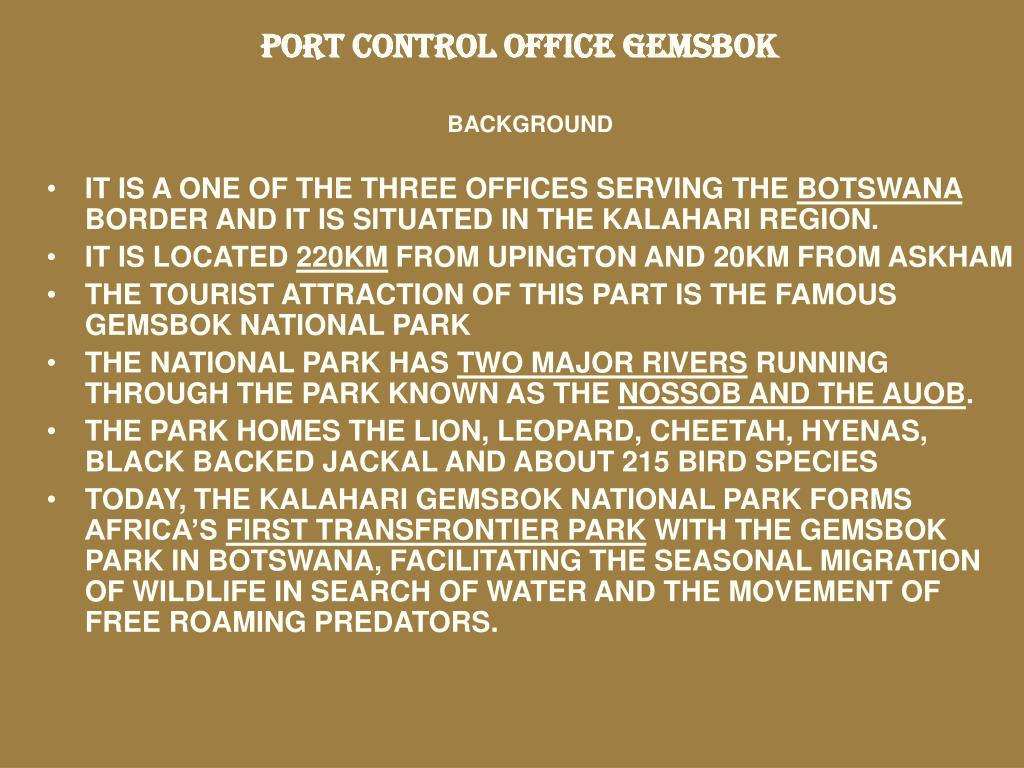 PORT CONTROL OFFICE GEMSBOK