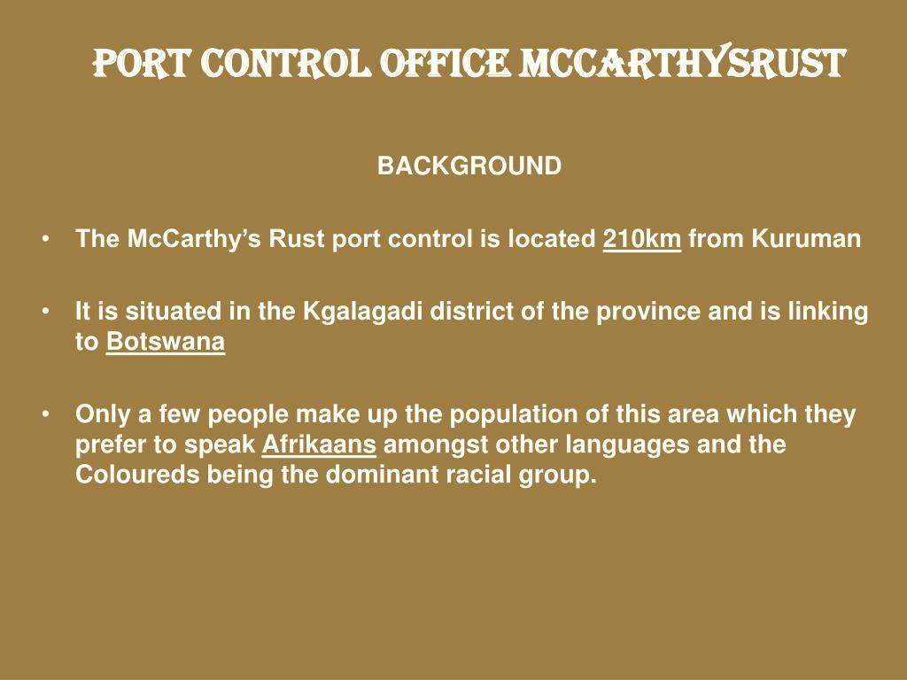 PORT CONTROL OFFICE MCCARTHYSRUST