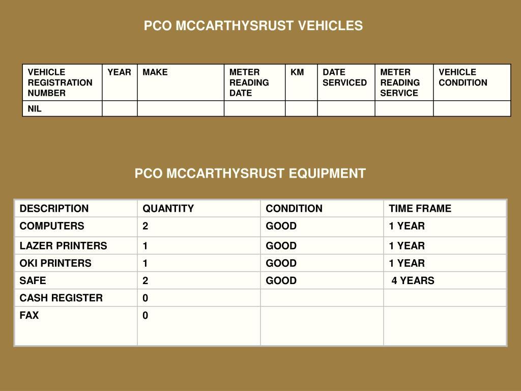PCO MCCARTHYSRUST VEHICLES