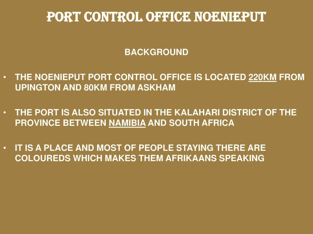 PORT CONTROL OFFICE NOENIEPUT