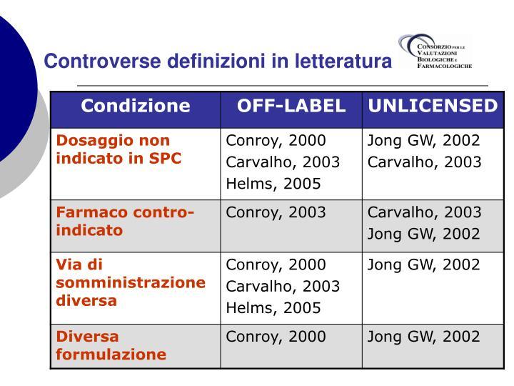Controverse definizioni in letteratura