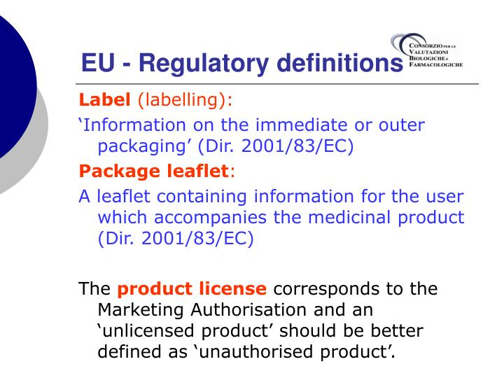 EU - Regulatory definitions