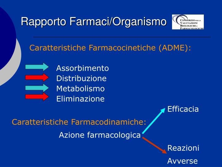 Rapporto Farmaci/Organismo