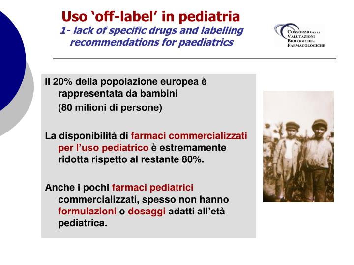 Uso 'off-label' in pediatria
