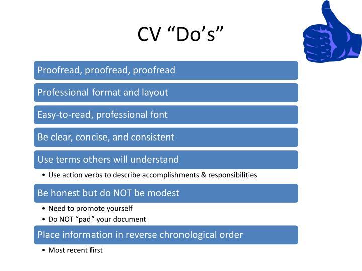 """CV """"Do's"""""""