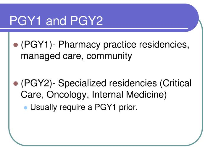 PGY1 and PGY2