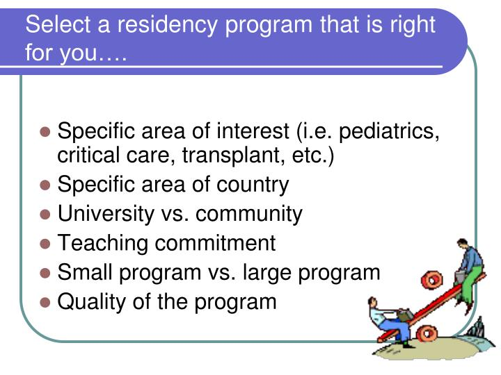Select a residency program that is right for you….
